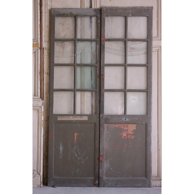 Double portes vitr es labrouche antiquaire de mat riaux for Double porte salon vitree